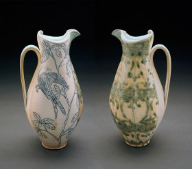 """porcelain, thrown and altered, cone 6, soda fired/neutral atmosphere, 16""""x 7""""x 9"""""""