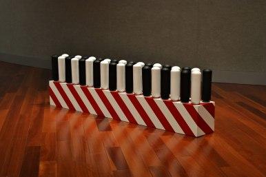 "relative position, 18"" x 54"" x 9"" Ceramic + Mixed Media 2013"