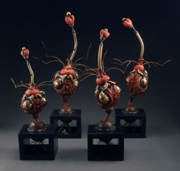 "Glazed Stoneware, Luster, Paint, Steel, fabric, wire, polymer clay, wood, 20""x11""x11"""