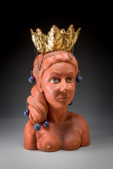 "21.5"" x 11.5"" x 10.5"", 2015, Porcelain, wire, (gold) metal leaf, copper leaf, leather string"