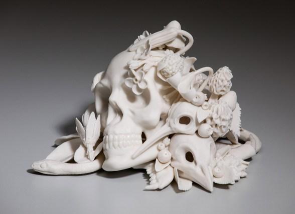 "6"" x 5 1/2"" x 4 1/2"", slip-cast and hand built porcelain, glaze, 2017"