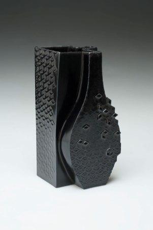 "2015. Slip cast porcelain using modular mold system, appliqué, 9"" x 9"" x 16″"