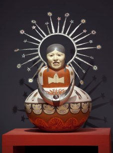 """44""""h x 23""""w x 25""""d. 111h x 58.4w x 64d cm. Height includes halo. Halo and moon are removable. 2011"""