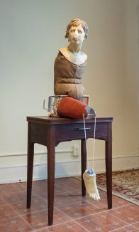 Photo credit: Mo Jahangir Full materials list: Earthenware, cast glass, found objects, textiles, underglaze, wax