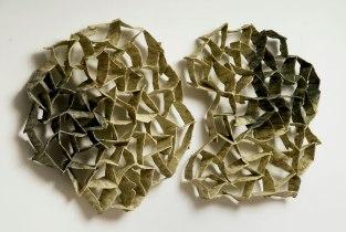 "Untitled, 2012, Clay and glaze, 30""x8""x22"""