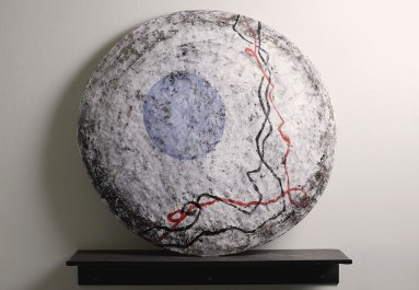 "Disc, 2010, Earthenware clay, glaze, egg tempera and steel shelf. 26""x4""x26"""
