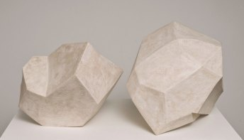 "White Shapes, 2010, Clay, glaze, wax. 32""x24""x26"""
