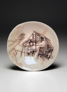 "porcelain, glaze, china paint, 5.5"" x 5.75"" x 1.5"", 2013"
