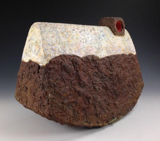 stoneware, glaze, flocking and paper 18x22x9in.