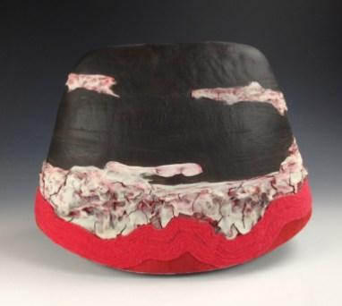 stoneware, porcelain, yarn flocking, 12x12x7in.