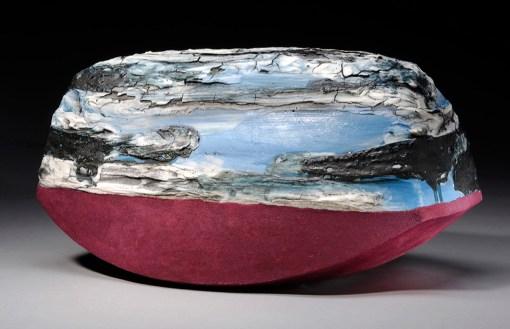 stoneware, porcelain, glaze, flocking 8x12x7in.