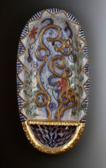 "2013, Terracotta clay, maiolica, gold luster, china paint, 26""H x 9.5""W x 4.5""D"