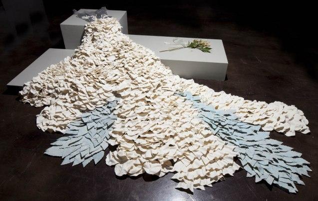 "Porcelain, fiber, lilies, gold wedding band, Installed—120"" L x 120"" W x 18"" H (305cm x 305cm x 46cm), 2011"