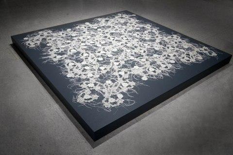 "Porcelain, fiber, 72""L x 72""W x .5""H, 2012"