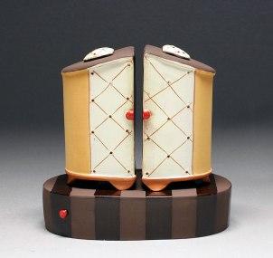 Handbuilt earthenware, terra sigillata, underglaze, and glaze, 4x3.5x2.5