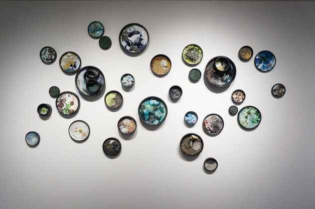 """2017, Ceramic, locally collected and recycled materials, and mixed media, 120"""" x 70"""" x 6"""""""