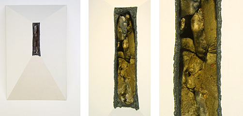 """37""""x28""""x24"""", Ceramic form inside of wooden structure"""