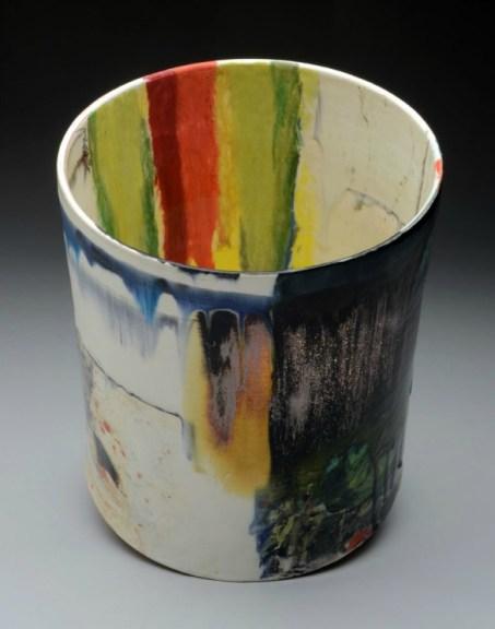 "red earthenware, slips, glaze. 13.5""h x 12""w x 12""d, 2012."