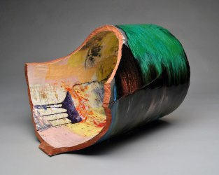 "red earthenware, slips, glaze. 20""h x 26""w x 22""d, 2012."