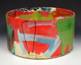 "red earthenware, slips, glaze. 6""h x 12""w x 12""d, 2014."