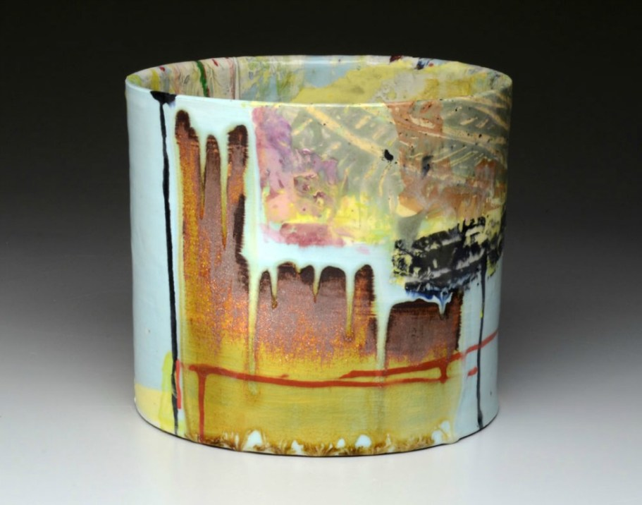 "red earthenware, slips, glaze. 10""h x 10""w x 10""d, 2012."