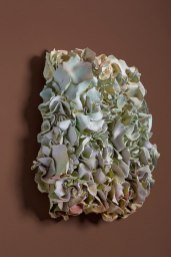 White Stoneware, Glazed & Acrylic Stain, 12 x 13 ¾ x 5 in, 2016