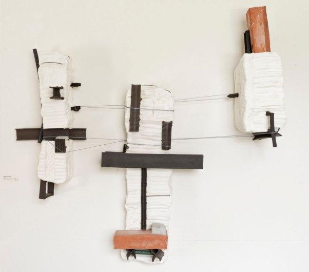 """Ceramics, Metal, Concrete, and Thread, 36"""" x 36"""" x 10"""", 2018"""