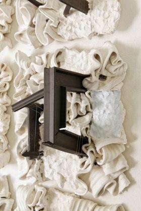 """Ceramics, Concrete, and Thread, 60"""" x 60"""" x 12"""", 2018"""
