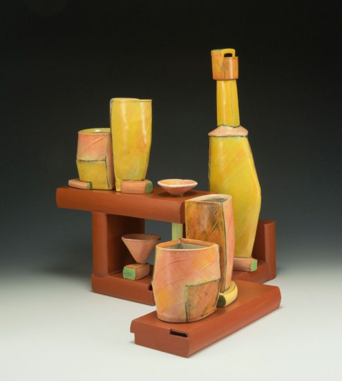 """2014, 16""""h x 15""""w x 15""""d, Hand built cone 3 red clay and slipcast cone 03 earthenware, terra sigillata, underglaze, and glaze. Electric fired."""
