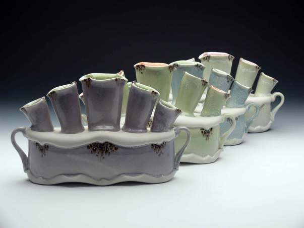 """2015, Thrown and Altered Porcelain, 7"""" x 12"""" x 4"""" each"""