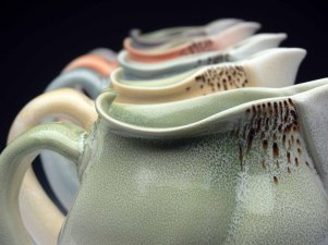 """2015, Thrown and Altered Porcelain, 9"""" x 8"""" x 6"""" each"""
