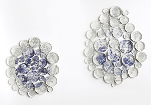 "2011, Male side: 55″H x 45″W x 2″D, Female side: 75″H x 55″W x 2"" D, 72 unique porcelain plates inlaid with glaze and underglaze, Photo: John Polak"