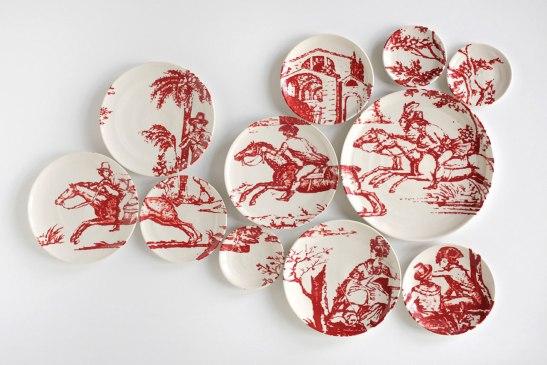 "2013, 26″H x 38″W x 2"" D, 11 hand-painted porcelain plates with glaze and underglaze, Photo: John Polak"