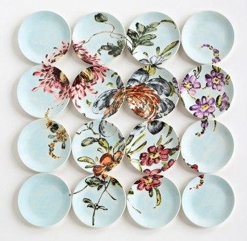 "2013, 40″H x 40″W x 1.5"" D, 16 hand-painted plates with glaze and underglaze, Photo: John Polak"