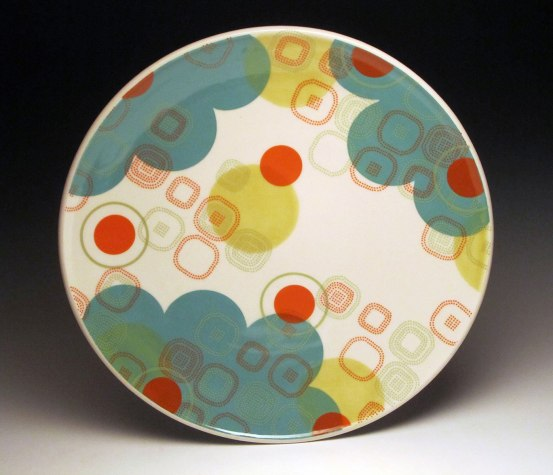 """Porcelain with decals, 1.75""""h x 15.5"""" x 15.5"""""""