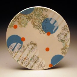 """Porcelain with decals, 1"""" x 10.5"""" x 10.5"""""""