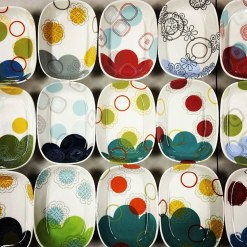"""Porcelain with decals, 1.5""""h x 5.25"""" x 7.5"""" each"""