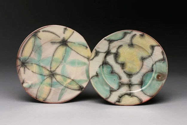 """thrown and altered earthenware, slips, glaze, 1""""h x 11""""w x 10.5""""d, 2015"""