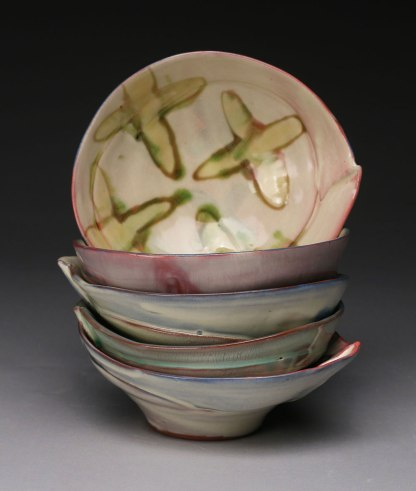 """thrown and altered earthenware, slips, glaze, 2.75""""h x 5""""w x 4.5"""" d, 2015"""