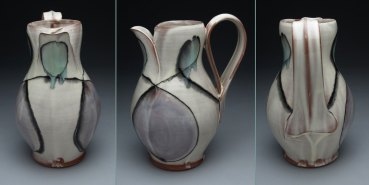 thrown earthenware, slip, glaze. 11 x 7 x 7, 2011