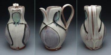 thrown earthenware, slip, glaze. 11 x 7 x 7, 2011