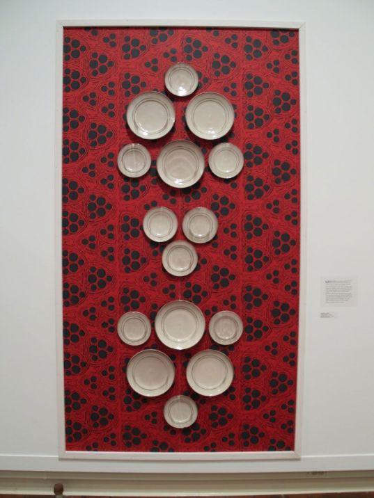 "hand-screened wallpaper, thrown earthenware, slip, glaze,lustre 96"" x 56"", 2011"