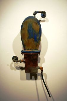 Wood-fired Stoneware and steel, 21 x 10 x 46 inches, 2012