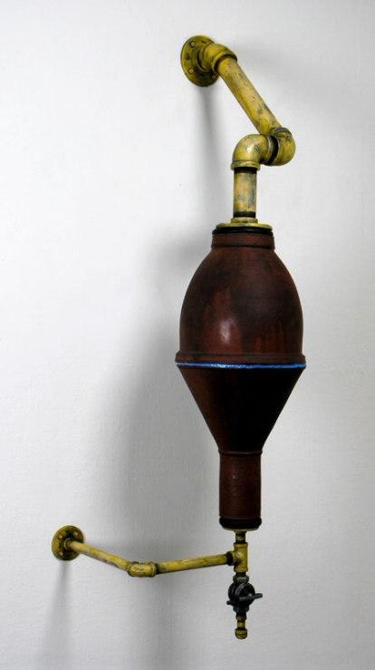 Wood-fired Stoneware, steel, brass valve, 2012