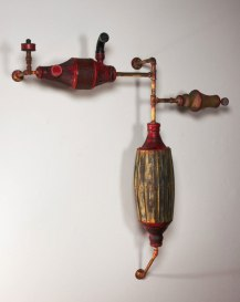 Oxidation-fired Stoneware, wood, steel pipe, aluminum vents, rubber, air filter, 60x16x67, 2012