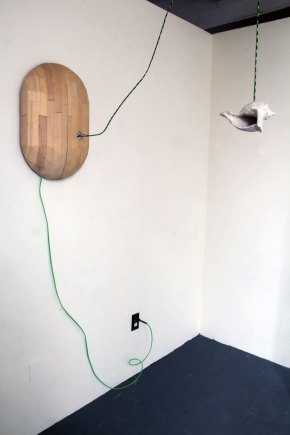 porcelain, custom electrical cord, headphone speaker, ocean sounds made by the artist, 2016, 3'x1.5'x 2'