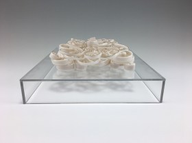 """porcelain, glaze, gold luster, acrylic base, 8 x 10 x 3"""", 2016"""