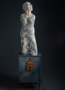 overall 70x22x14 ceramic, paint, found objects