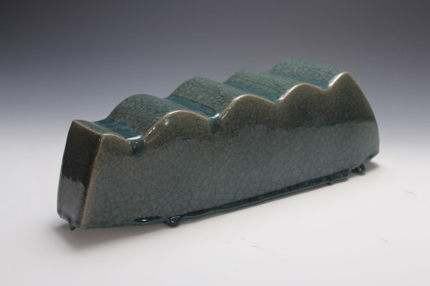 2014. Stoneware. Slab Built, sanded, Celadon Glaze. h16 x w40 x d16cm. Photo by Brian Misavage.