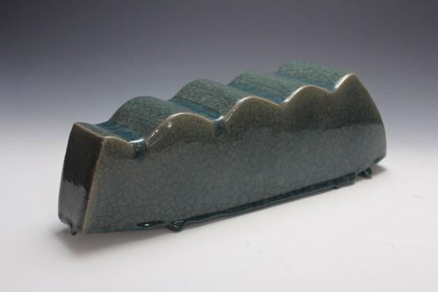 2014. Stoneware. Slab Built, sanded, Celadon Glaze. h16 x w40 x d16cm. Photo by Brian Misavage.